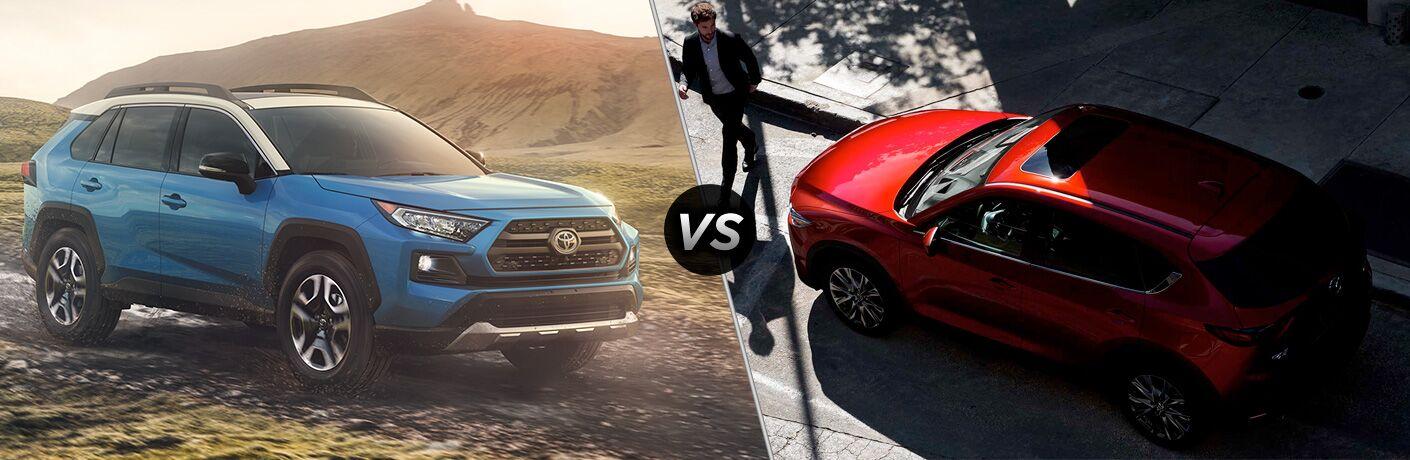 A side-by-side comparison of the 2019 Toyota RAV4 vs. 2019 Mazda CX-5.