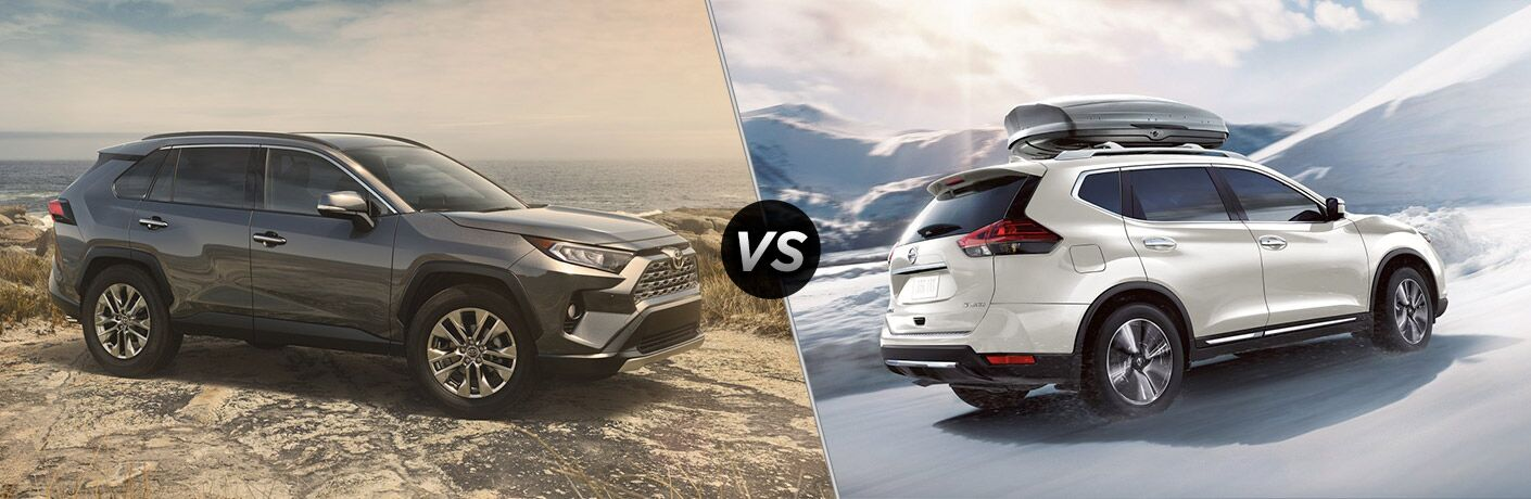 A side-by-side-comparison of the 2019 Toyota RAV4 vs. 2019 Nissan Rogue.