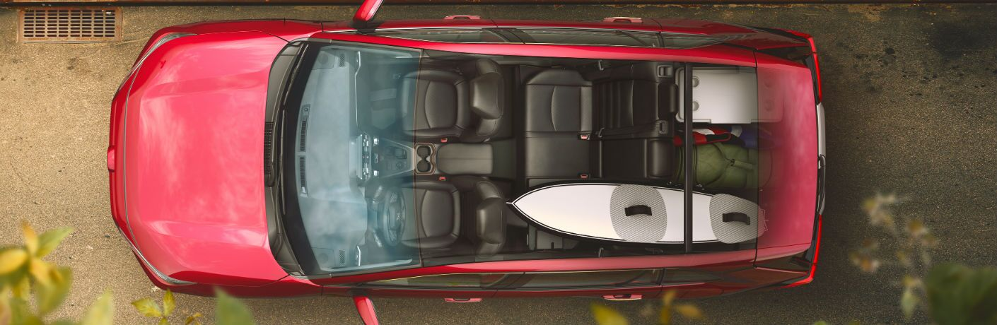 An overhead photo with the roof cut away showing the available cargo space in the 2019 RAV4.