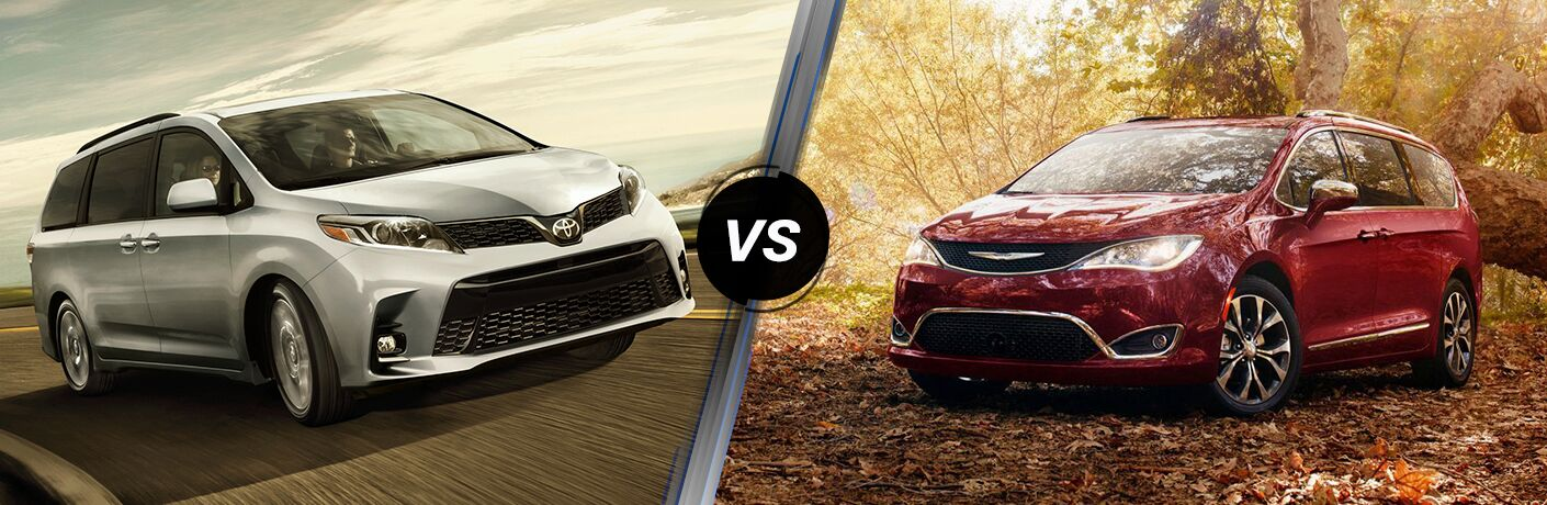 A side-by-side comparison of the 2019 Toyota Sienna vs. 2019 Chrysler Pacifica.