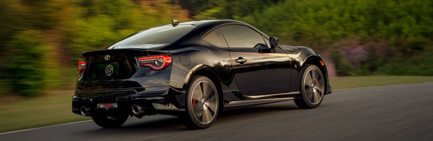 A rear right quarter photo of the 2019 Toyota 86 TRD Special Edition in motion on the road.