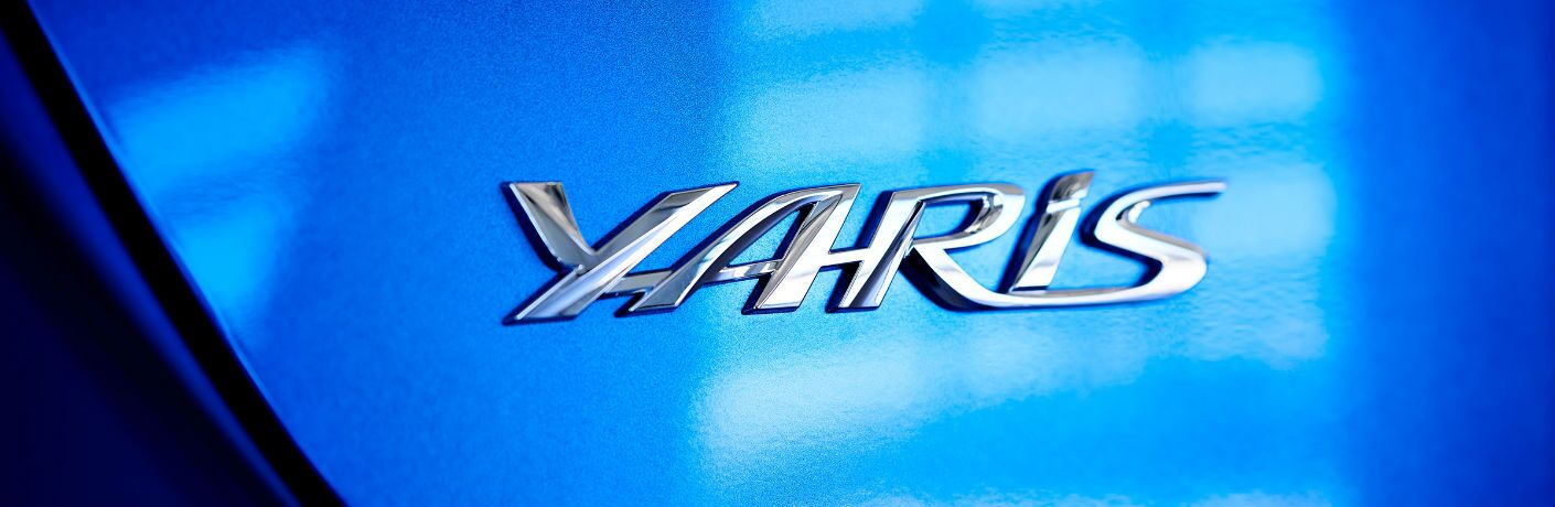 A photo of the Yaris badge on the back of the 2020 Toyota Yaris.