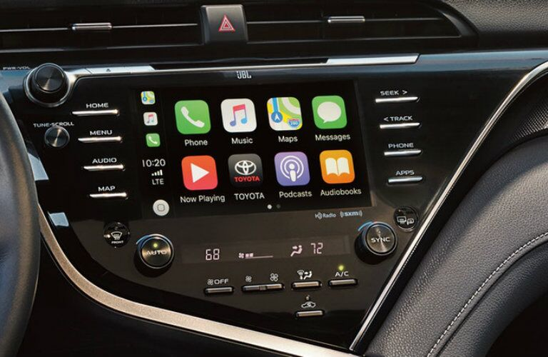 A photo of the Apple CarPlay system being used in the 2019 Toyota Camry.
