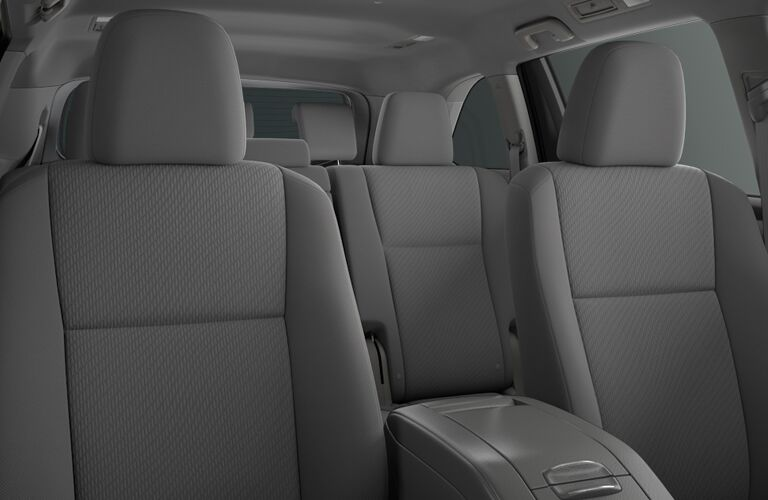 A front to back view of the seating options in the 2018 Highlander.