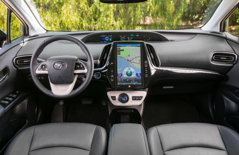 An interior photo of the dashboard in the 2018 Toyota Prius Prime.