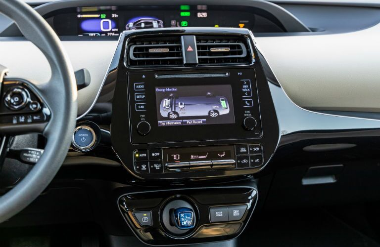 A photo of the touchscreen interface in the 2019 Toyota Prius.