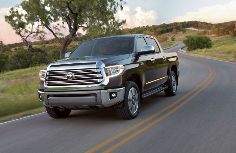 A front left quarter photo of the 2019 Toyota Tundra on the road.