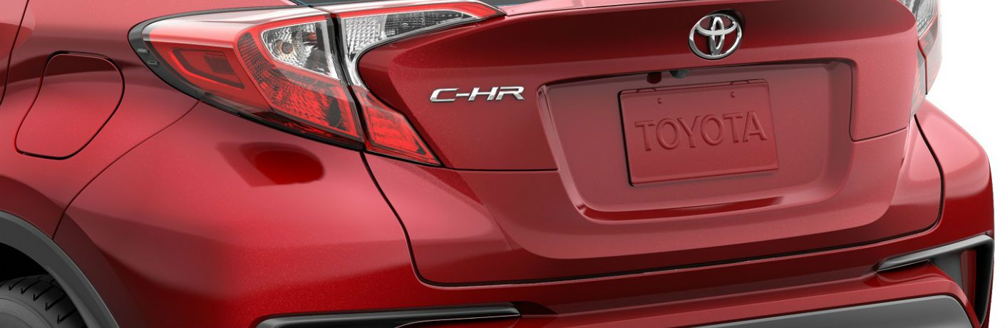 A close up photo of the C-HR badge used on the 2020 Toyota C-HR.
