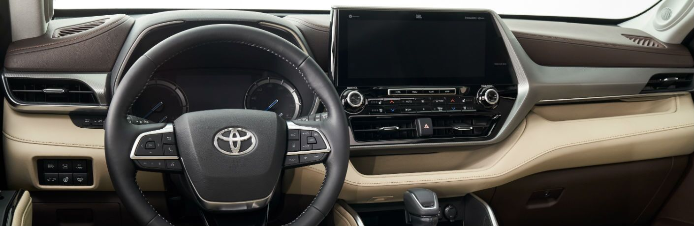 A photo of the dashboard in the 2020 Toyota Highlander Hybrid.