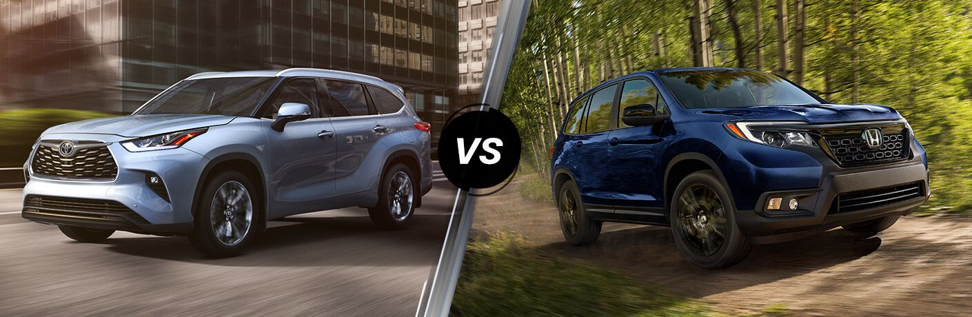 A side-by-side comparison of the 2020 Toyota Highlander vs. 2019 Honda Passport.
