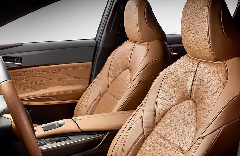An interior photo of the 2019 Toyota Avalon with leather front seats.
