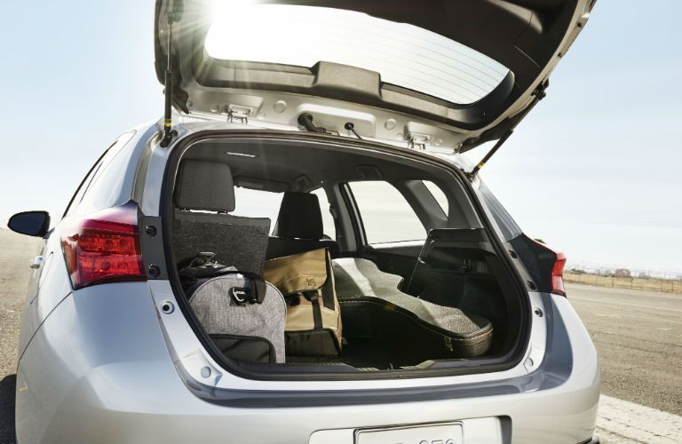 A photo looking into the rear cargo area of the 2018 Toyota Corolla iM.