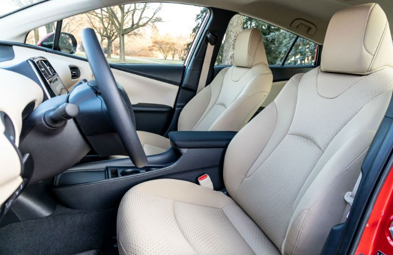 A photo of the front seats in the 2019 Toyota Prius.