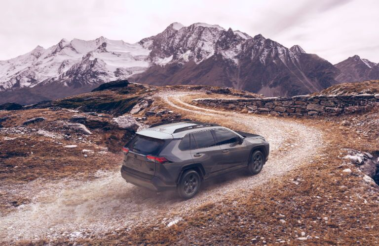 A photo of the 2020 Toyota RAV4 TRD Off-Road in motion on a trail.