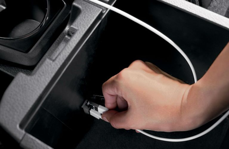 A photo of the phone-charging capability in the 2020 Toyota Tacoma.