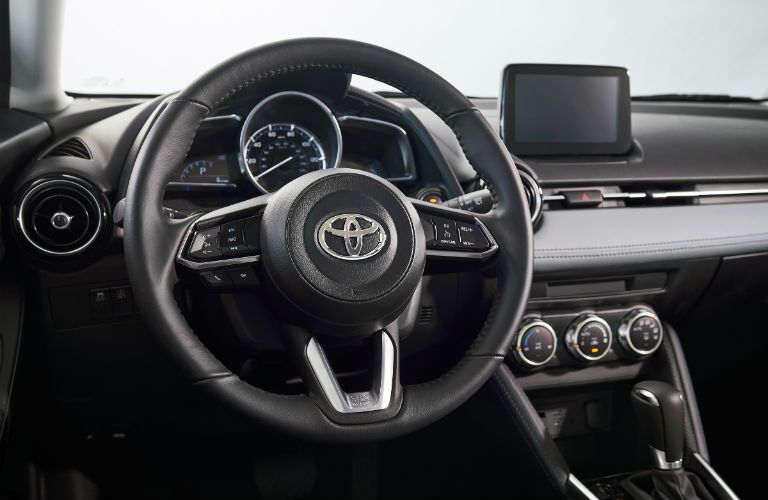A photo of the driver's cockpit in the 2020 Toyota Yaris.