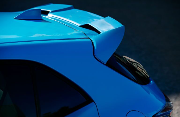 A photo of the integrated rear spoiler on the 2019 Toyota Corolla Hatchback.