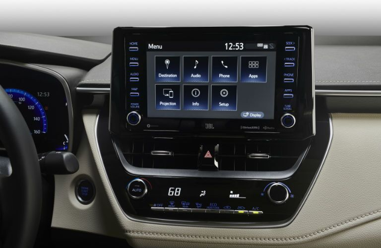 A photo of the touchscreen interface used by the 2020 Corolla.