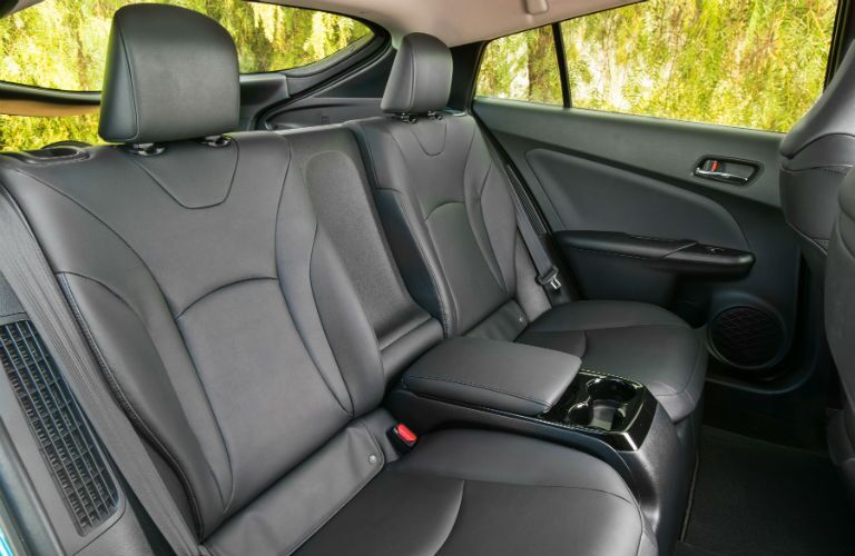An interior photo of the rear seats in the 2018 Toyota Prius Prime.