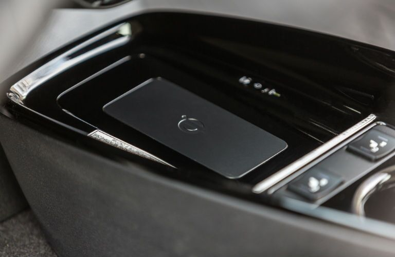 A photo of the wireless charging tray in the 2019 Prius.