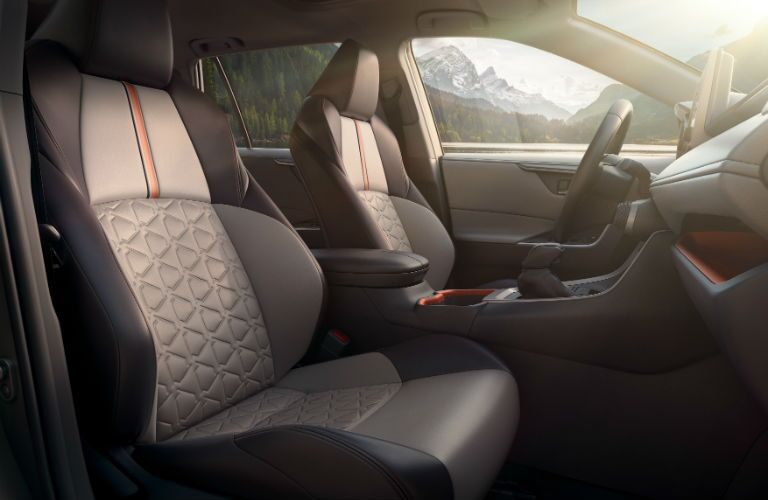 Another photo of the front seats of the 2019 RAV4 with a different upholstery pattern.