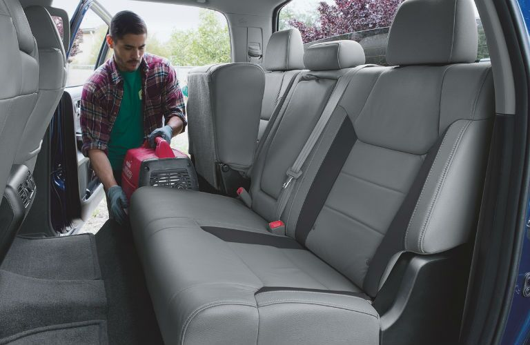 A photo showing the backseat of the 2019 Tundra and how much space is available.