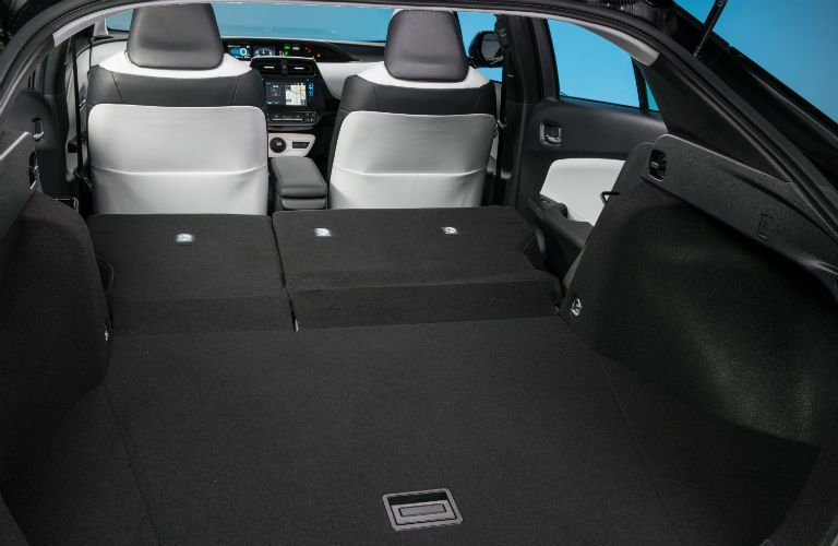 A photo of the maximum cargo configuration in the 2018 Prius.