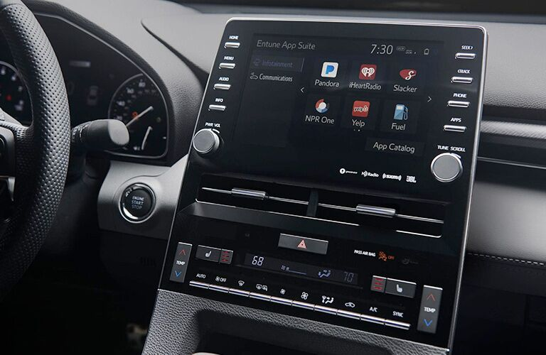 A photo of the touchscreen interface in the 2019 Avalon.