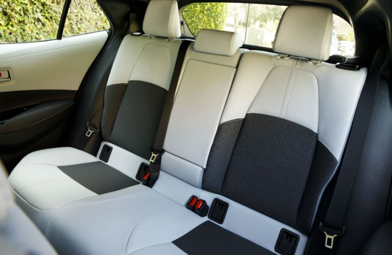 A photo of the rear seats in the 2019 Corolla Hatchback.