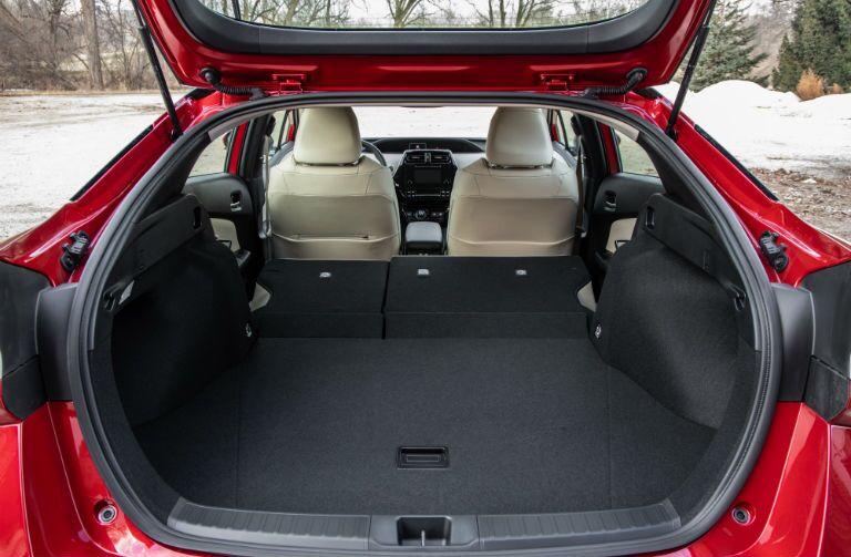 A photo of the maximum cargo configuration in the 2019 Prius.