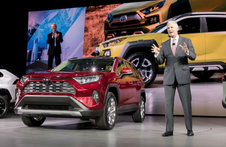 A photo of the 2019 RAV4 being introduced in New York.