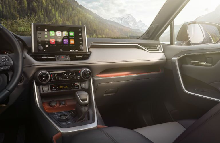 Another photo of the new infotainment system and passenger side dashboard in the 2019 RAV4.