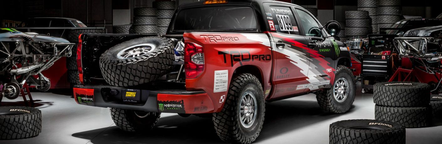 A stock photo of a prototype of a customized Toyota Tundra pickup truck.