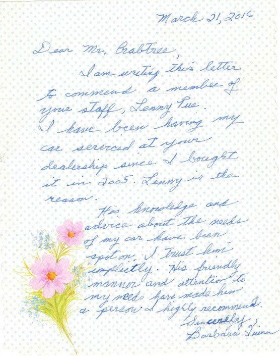 Barbara Quinn Thank You Letter Colonial Toyota