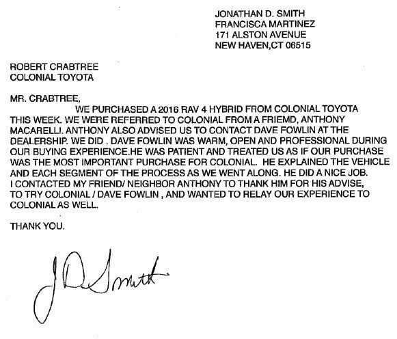 Jonathan Smith Thank You Letter Colonial Toyota