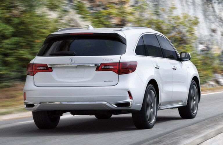 rear view of white 2019 acura mdx