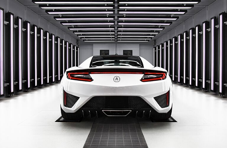white 2019 Acura NSX rear view in white room