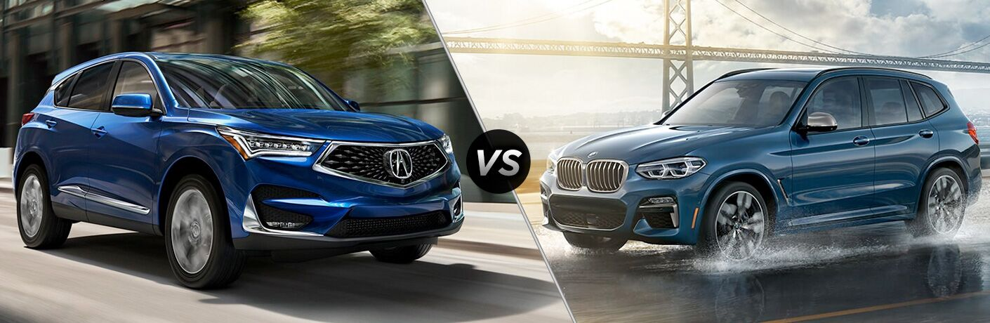Blue 2019 Acura RDX and BMW X3 models in comparison image
