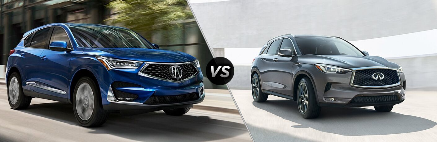 2019 Acura RDX and 2019 INFINITI QX50 in comparison image