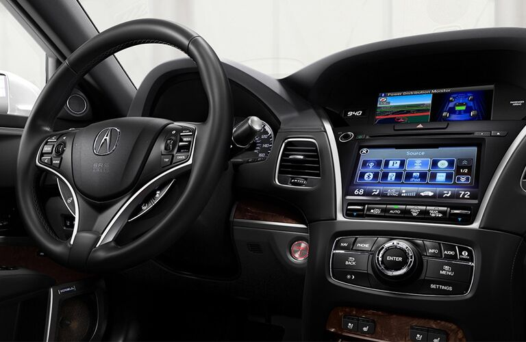 Wood grain accented interior of 2019 Acura RLX