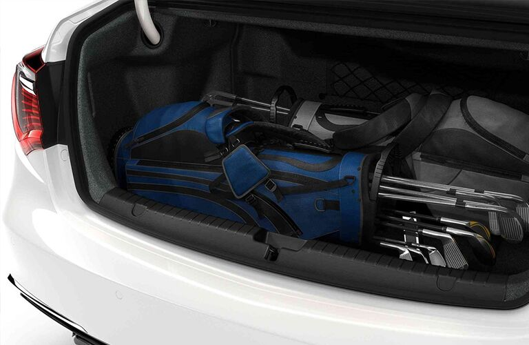 Golf bags in trunk area of 2019 Acura RLX
