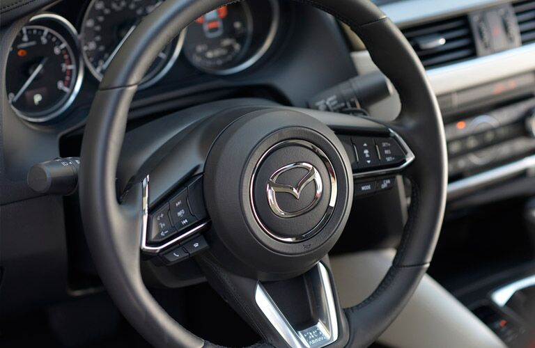2017 Mazda6 interior front cabin close up of steering wheel