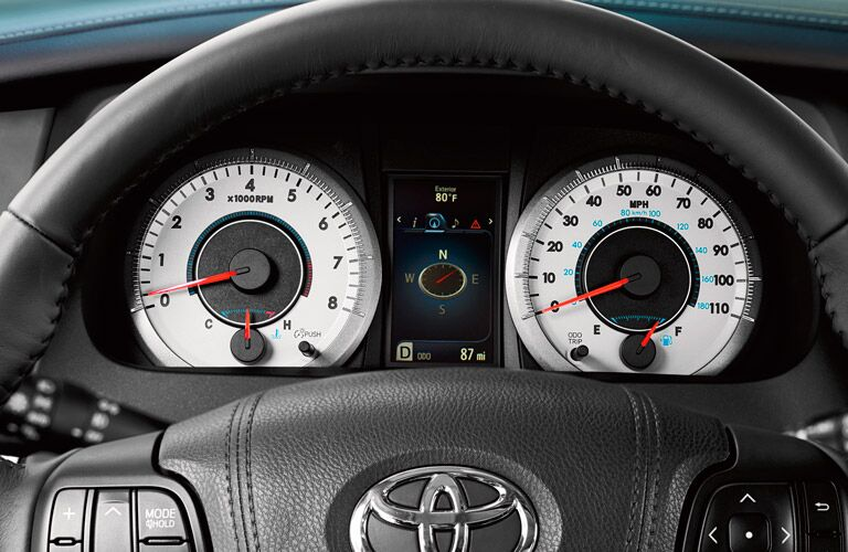 instrument cluster on the Toyota Sienna