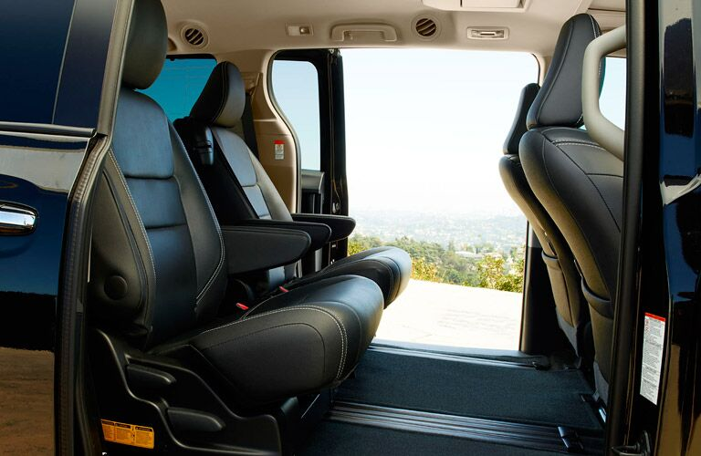 rear seat space with doors open on the Toyota Sienna