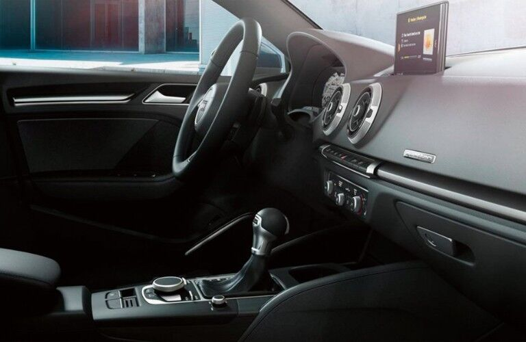 View of the steering wheel and technology inside the 2019 Audi A3