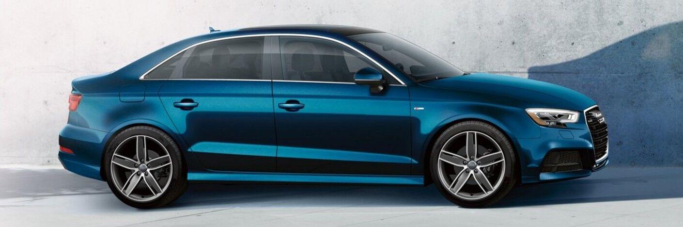 Passenger angle of a blue 2018 Audi A3