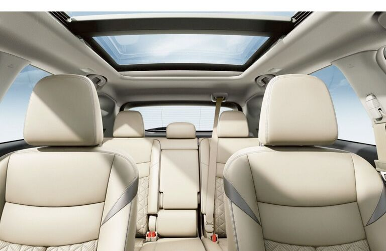 Angle from dashboard showing the two rows of seats and the sunroof in the 2019 Nissan Murano
