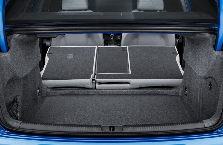 Rear view of the seats down in a blue 2019 Audi A3