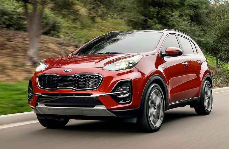 2020 Kia Sportage driving down road