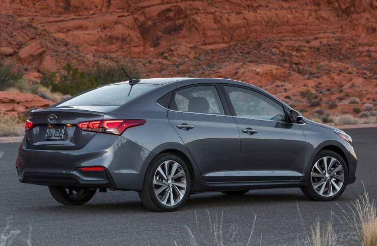 2020 Hyundai Accent driving away in desert